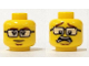 Part No: 3626cpb1118  Name: Minifigure, Head Dual Sided Black Glasses, Brown Eyebrows and Goatee, Closed Mouth / Scared Open Mouth Pattern - Hollow Stud