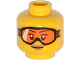 Part No: 3626cpb1129  Name: Minifigure, Head Female Glasses with Orange Goggles and Buff Lips Pattern - Hollow Stud