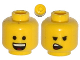 Part No: 3626cpb1147  Name: Minifigure, Head Dual Sided Open Smile with Tongue / Open Mouth on One Side Pattern (Emmet) - Hollow Stud