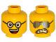 Part No: 3626cpb1158  Name: Minifigure, Head Dual Sided Black Glasses, Open Smile with Teeth and Tongue / Sunglasses, Clenched Teeth Pattern - Hollow Stud
