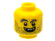 Part No: 3626cpb1184  Name: Minifigure, Head Beard Stubble, Gray Bushy Eyebrows, Open Grin, Gold Tooth Pattern - Hollow Stud