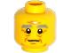 Part No: 3626cpb1186  Name: Minifigure, Head Male Bushy Gray Eyebrows, Wrinkles, White Pupils, Slight Smile Pattern - Hollow Stud
