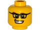 Part No: 3626cpb1190  Name: Minifigure, Head Glasses Rectangular, Brown Eyebrows, Open Mouth Smile with Teeth, White Pupils Pattern - Hollow Stud