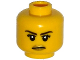 Part No: 3626cpb1192  Name: Minifigure, Head Female with Black Eyebrows, Eyelashes, White Pupils and Gold Lips Stern Pattern - Hollow Stud