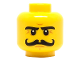Part No: 3626cpb1203  Name: Minifigure, Head Moustache Curly Long, Stern Eyebrows, White Pupils Pattern - Hollow Stud