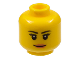 Part No: 3626cpb1211  Name: Minifigure, Head Female with Black Thin Eyebrows, Eyelashes, White Pupils and Peach Lips Smile Pattern - Hollow Stud