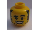 Part No: 3626cpb1219  Name: Minifigure, Head Beard Stubble, Black Bushy Eyebrows, Sideburns, Crow's Feet, Grin with Teeth Pattern - Hollow Stud