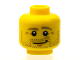 Part No: 3626cpb1226  Name: Minifigure, Head Beard Stubble, Dark Tan Eyebrows, Crow's Feet, Lopsided Smile Pattern - Hollow Stud