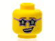 Part No: 3626cpb1230  Name: Minifigure, Head Female Glasses Star Shaped, Medium Lavender Lips, Open Lopsided Smile with Teeth Pattern - Hollow Stud