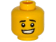 Part No: 3626cpb1231  Name: Minifigure, Head Black Eyebrows, White Pupils, Crooked Open Mouth Smile with Teeth Pattern - Hollow Stud