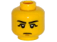 Part No: 3626cpb1232  Name: Minifigure, Head Black Eyebrows, Black Eye Shadow, Chin Dimple Pattern - Hollow Stud