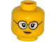 Part No: 3626cpb1238  Name: Minifigure, Head Female Glasses Gray Frames and White Lenses, Eyelashes, Pale Brown Lips Pattern - Hollow Stud
