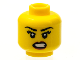 Part No: 3626cpb1239  Name: Minifigure, Head Female with Black Eyebrows, Eyelashes, Angry Open Mouth with Bared Teeth, Red Lips Pattern - Hollow Stud