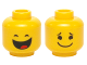 Part No: 3626cpb1242  Name: Minifigure, Head Dual Sided Black Closed Eyes, Smile with Tongue / Black Eyes, Eyebrows and Wide Closed Mouth Smile Pattern (Benny) - Hollow Stud