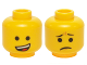 Part No: 3626cpb1243  Name: Minifigure, Head Dual Sided Open Lopsided Smile / Pinched Eyebrows and Frown Pattern (Emmet) - Hollow Stud