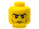 Part No: 3626cpb1248  Name: Minifigure, Head Male Stern Black Eyebrows, Crow's Feet, Cheek Lines, Chin Dimple Pattern - Hollow Stud