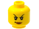 Part No: 3626cpb1275  Name: Minifigure, Head Female with Black Arched Thin Eyebrows, Eyelashes, Dark Pink Lips, Evil Smile Pattern - Hollow Stud