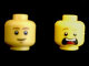 Part No: 3626cpb1280  Name: Minifigure, Head Dual Sided Brown Eyebrows, White Pupils, Slight Smile and Cleft Chin / Open Mouth Scared Pattern (McScrubs) - Hollow Stud