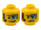 Part No: 3626cpb1282  Name: Minifigure, Head Dual Sided Digital Eye Glass over Left Eye, Smirk / Determined Pattern (Curtis Bolt) - Hollow Stud