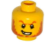 Part No: 3626cpb1291  Name: Minifigure, Head Dark Orange Eyebrows and Beard, Broken Tooth, Determined Grin, Pupils Pattern - Hollow Stud