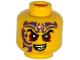Part No: 3626cpb1294  Name: Minifigure, Head Black Eyebrows, Dark Red Eyes, Dark Purple Tattoo, Evil Smile Pattern - Hollow Stud