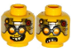 Part No: 3626cpb1298  Name: Minifigure, Head Dual Sided Glasses with Silver Goggles, Metal Plates with Circuitry on Forehead, Smile / Angry Pattern (Drillex) - Hollow Stud