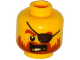 Part No: 3626cpb1304  Name: Minifigure, Head Beard Dark Orange, Gold Teeth, Eyepatch Pattern - Hollow Stud