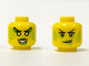 Part No: 3626cpb1309  Name: Minifigure, Head Dual Sided Female Black Eyelashes and Eyebrows, Lime Blotches, Smirk / Green Eye Shadow and Lips, Teeth Pattern - Hollow Stud