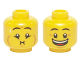 Part No: 3626cpb1314  Name: Minifigure, Head Dual Sided Eyebrows, Crow's Feet, Open Mouth Smile / Queasy Expression with Sweat Drop Pattern - Hollow Stud (Undetermined Version)