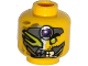 Part No: 3626cpb1315  Name: Minifigure, Head Alien with Metal Mask, Purple Jewel, Green Eye, Pointed Teeth Pattern - Hollow Stud