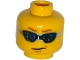 Part No: 3626cpb1316  Name: Minifigure, Head Glasses Digital with Light Brown Eyebrows and Chin Dimple Pattern - Hollow Stud