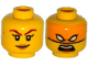 Part No: 3626cpb1326  Name: Minifigure, Head Dual Sided Female Dark Red Eyebrows, Dark Tan Lips, Smile / Bright Light Orange Mask, White Eyes, Open Mouth Pattern - Hollow Stud