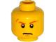 Part No: 3626cpb1328  Name: Minifigure, Head Dark Orange Eyebrows, Scar over Right Eye, Scowl Pattern - Hollow Stud
