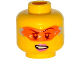 Part No: 3626cpb1329  Name: Minifigure, Head Female Glasses with Orange Digital Sunglasses, Pink Lips, Lopsided Mouth with Teeth Pattern - Hollow Stud