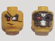 Part No: 3626cpb1343  Name: Minifigure, Head Dual Sided Bushy Eyebrows, Red Right Eye, Silver Eyepatch Left Eye / Silver Mask, Red Eye and Black Eye Pattern - Hollow Stud