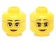 Part No: 3626cpb1398  Name: Minifigure, Head Dual Sided Female Dark Tan Glasses, Laugh Lines, Dark Orange Lips, Neutral / Raised Eyebrows Amused Pattern - Hollow Stud