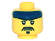 Part No: 3626cpb1483  Name: Minifigure, Head Dark Blue Headband, White Pupils, Black Moustache and Goatee Pattern - Hollow Stud