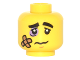Part No: 3626cpb1492  Name: Minifigure, Head Black Eyebrows, Lavender Black Eye, Bandage and Frown Pattern - Hollow Stud