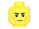 Part No: 3626cpb1498  Name: Minifigure, Head Black Eyebrows Staright, White Pupils, Cheek Lines, Frown Pattern - Hollow Stud