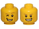 Part No: 3626cpb1506  Name: Minifigure, Head Dual Sided Dark Tan Eyebrows, Cheek Lines, Smile with Right Eye Closed / Smile with Teeth Pattern - Hollow Stud