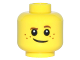 Part No: 3626cpb1508  Name: Minifigure, Head Brown Eyebrows, Raised Left Eyebrow, Freckles, White Pupils, Crooked Smile Pattern - Hollow Stud