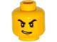 Part No: 3626cpb1535  Name: Minifigure, Head Black Thick Angry Eyebrows, Lopsided Open Smile Pattern - Hollow Stud