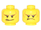 Part No: 3626cpb1548  Name: Minifigure, Head Dual Sided Black Eyebrows, White Pupils, Chin Dimple and Cheek Lines, Smile with Tooth / Frown Angry Pattern - Hollow Stud