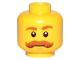 Part No: 3626cpb1564  Name: Minifigure, Head Dark Orange Eyebrows and Bushy Moustache Pattern - Hollow Stud