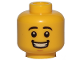 Part No: 3626cpb1569  Name: Minifigure, Head Black Eyebrows, White Pupils, Chin Dimple, Open Mouth Smile with Teeth Pattern - Hollow Stud