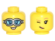 Part No: 3626cpb1592  Name: Minifigure, Head Dual Sided Female Silver Goggles with Medium Azure Lenses / Dark Tan Eyebrows and Wink Pattern - Hollow Stud