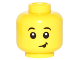 Part No: 3626cpb1595  Name: Minifigure, Head Child Raised Black Eyebrows, White Pupils, Lopsided Smile with Black Tongue Out Pattern - Hollow Stud