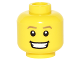 Part No: 3626cpb1597  Name: Minifigure, Head Dark Tan Eyebrows, White Pupils, Open Smile with Teeth Pattern - Hollow Stud