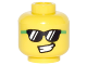Part No: 3626cpb1600  Name: Minifigure, Head Bright Green and Black Sunglasses, Lopsided Open Smile Pattern - Hollow Stud