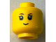 Part No: 3626cpb1617  Name: Minifigure, Head Brown Eyebrows, Black Eyelashes, Slight Smile Pattern - Hollow Stud